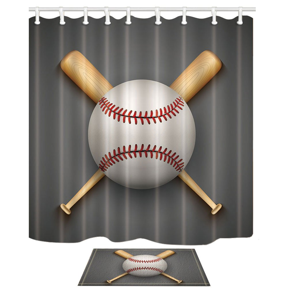CDM product HNMQ Sports Decor Shower Curtain Set, Baseball Leather Ball and Wooden Bats, 69X70in Mildew Resistant Polyester Fabric Bathroom Curtain Set with 15.7x23.6in Flannel Non-Slip Floor Doormat Bath Rugs big image