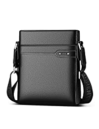 LAORENTOU Men Genuine Cow Leather Shoulder Bag Crossbody Bag