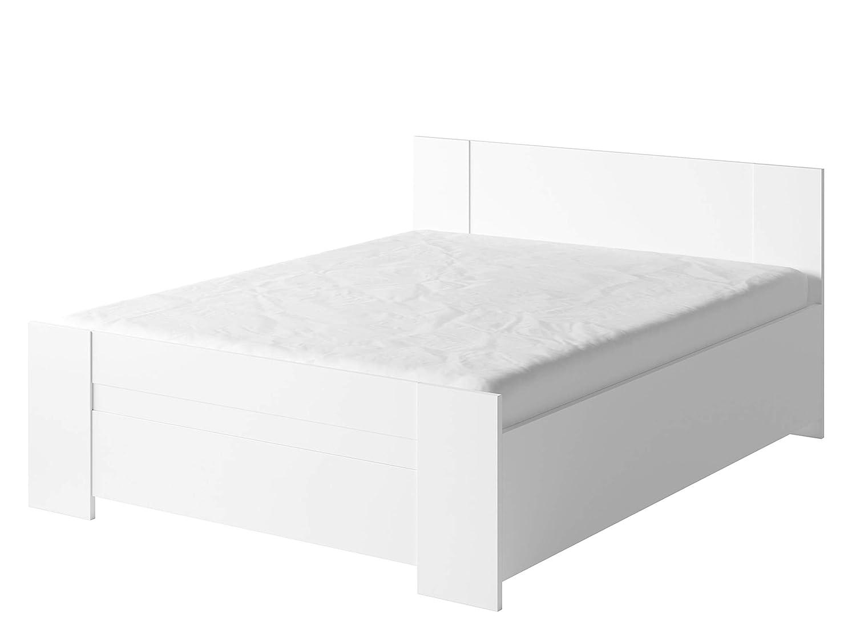 Mirjan24 Doppelbett Bianco mit Lattenrost und Bettkasten, Ehebett, Bettgestell, Schlafzimmer, Schlafmöbel, Bett (Weiß, ohne Kopfteil)