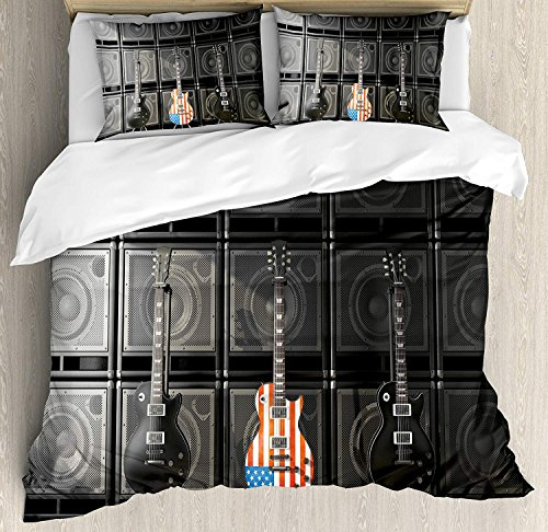 American Flag Queen Size Duvet Cover Set - Black and Us Bass Guitar Electronic Rock Music Theme Digital Graphic Work Bedding Sets Decorative Bedspread for Childrens/Kids/Teens/Adults,4 Piece
