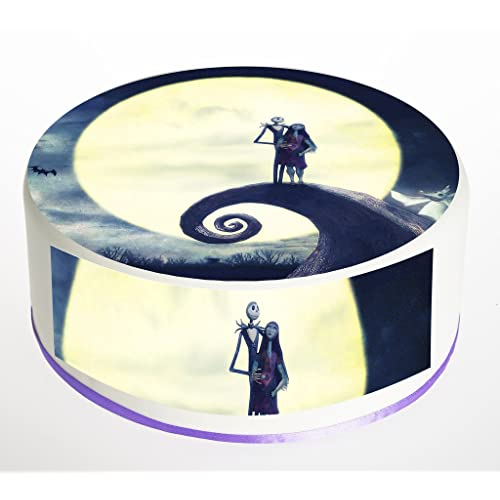 the nightmare before christmas jack skellington and sally 75 inch round circular edible cake topper