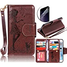 Sony Xperia Z5 Case, Sunroyal Ultra thin Luxury Fashion Flip Leather Magnetic Stand Wallet Case Cover with Built-in 9 Card Slots [Cosmetic Mirror] Clear Screen Protector BookStyle Brown Flower Pattern
