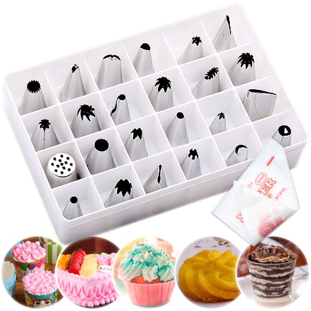SANVA - Set di 24 beccucci erogatori in acciaio + 100 sac à poche per praline di cioccolato, biscotti, decorazione dolci e torte Accessori in acciaio inox 100er Einweg Spritzbeutel