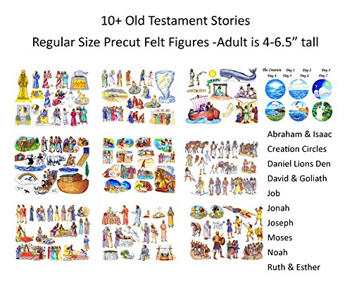 10 Old Testament Bible Stories Precut Felt Figures for Flannel Board Noah, David, Daniel, Job, Jonah, Joseph, Abraham, Ruth Esther, Moses Creation by Story Time Felts