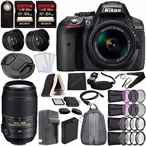 Nikon D5300 DSLR Camera with 18-55mm Lens (Black) + Nikon AF-S DX NIKKOR 55-300mm f/4.5-5.6G ED VR Lens + Battery + Charger + Sony 64GB Card + HDMI + Backpack Case + Remote Bundle