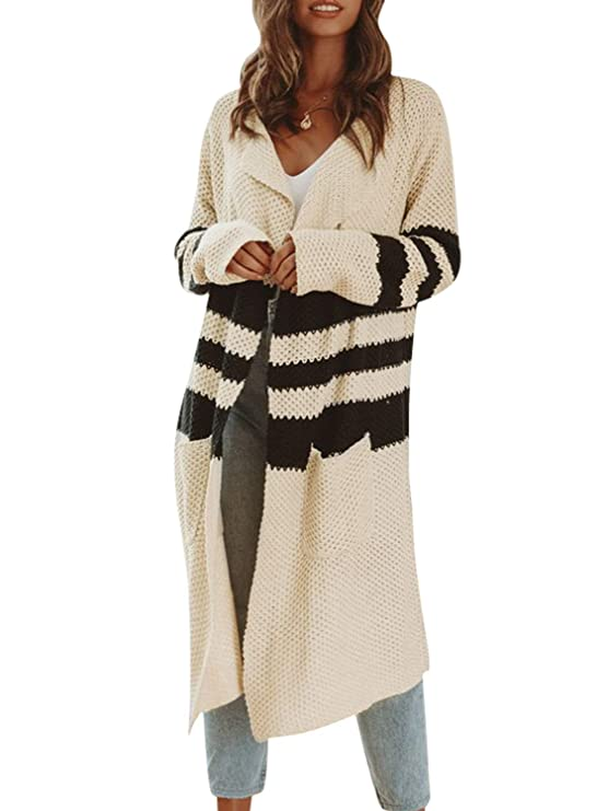 Simplee Women's Casual Open Front Long Sleeve Knit Cardigan Sweater Coat With Pockets by Simplee Apparel