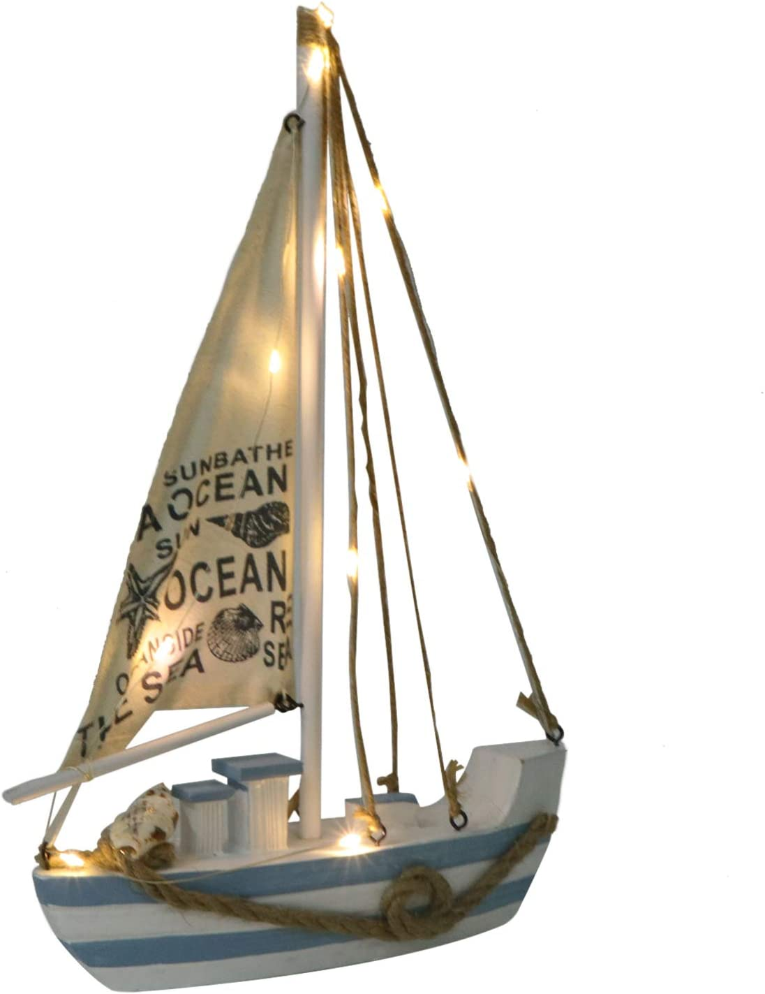Toddmomy Wooden Sailing Ship Model Mediterranean Sailboat Nautical Decor Light up Vintage Sailing Boat Desktop Ornament Room Party Decoration (Without Battery)