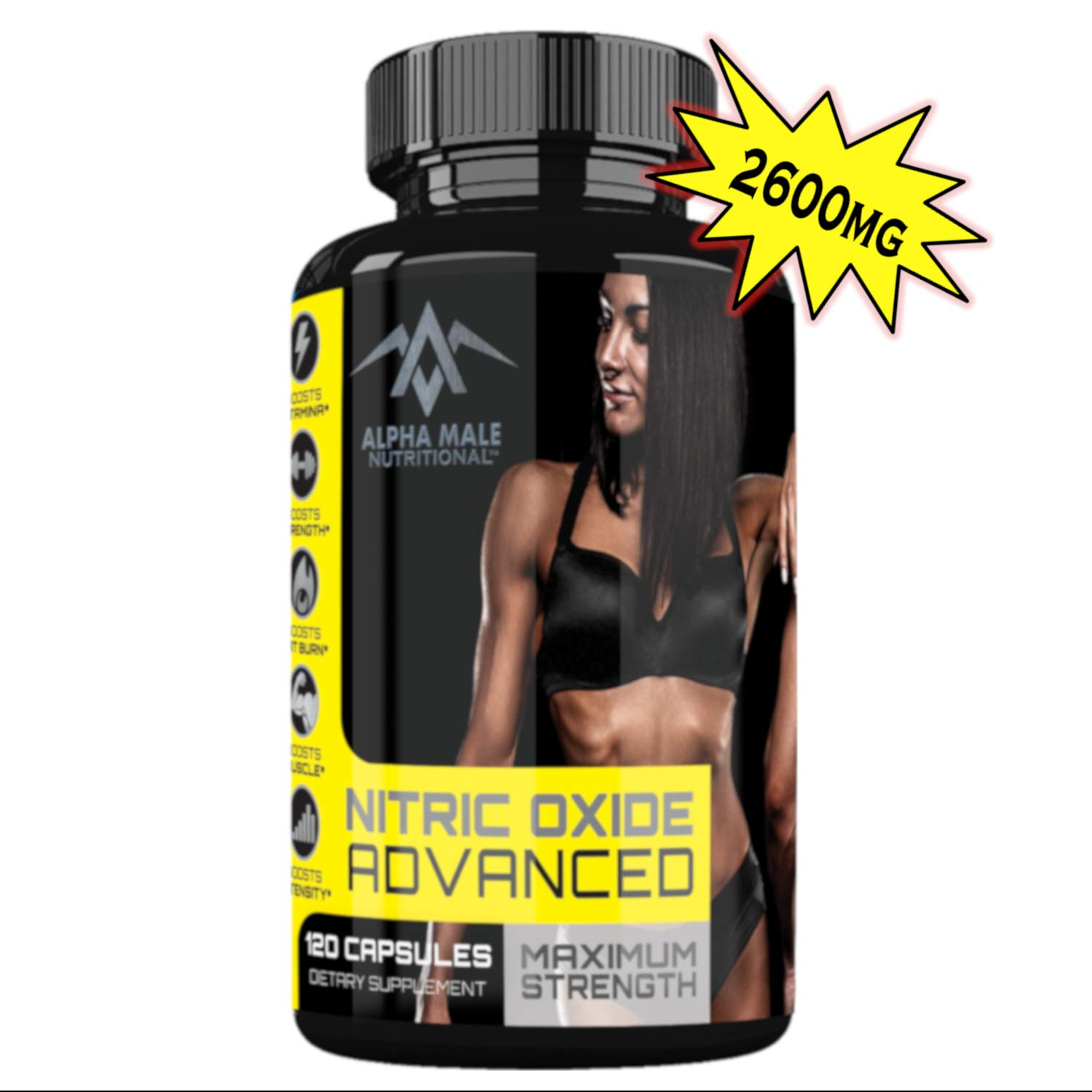 Alpha Male Nitric Oxide Advanced - Our Most Powerful 2600MG Advanced Nitric Oxide Booster and Muscle Builder for Strength, Energy, Blood Flow, weight loss and Endurance - 120 Capsules by Alpha Male Nutritional