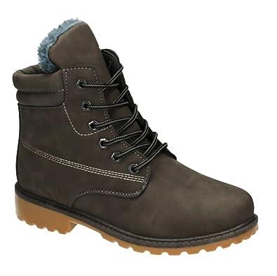 Trendige Damen Stiefeletten Worker Schnürboots Outdoor Wander Stiefel Schuhe Bequem 16 (38, Schwarz)