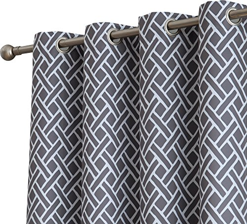 Hanging Curtain Panels (HLC.ME Basketweave Print Blackout Grommet Curtain Panels for Window - 99% Light Blocking - Thermal Insulated Decorative Hanging Pair for Privacy & Room Darkening - Set of 2 (52