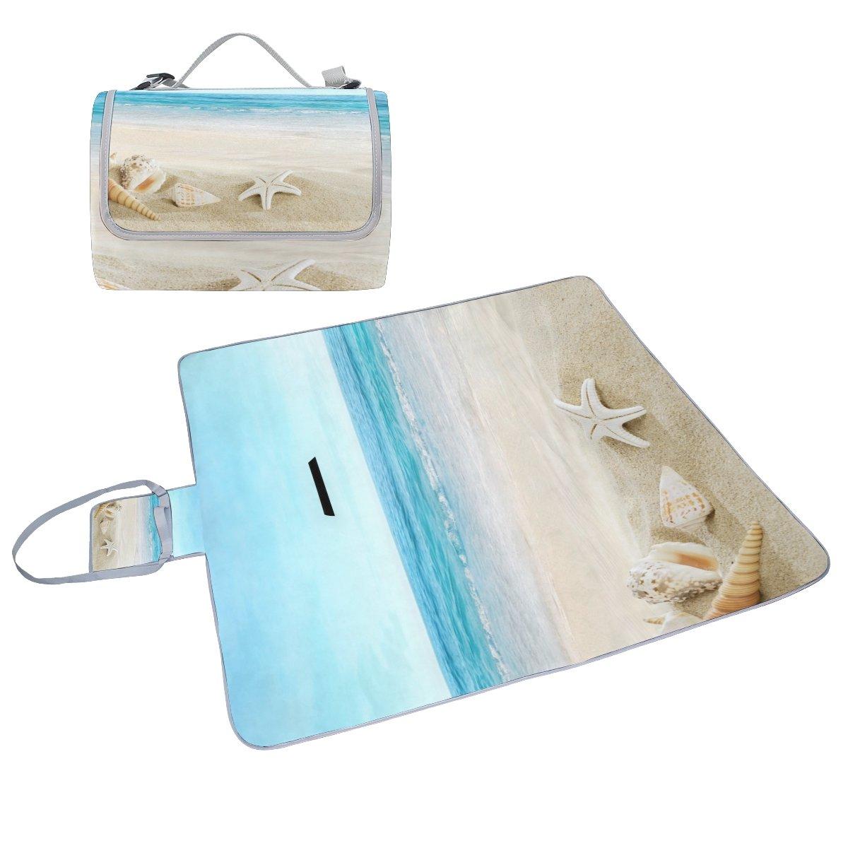 COOSUN - Manta de diseño picnic con diseño de de paisaje con conchas, práctica alfombrilla resistente al moho y resistente al agua para picnics, playas, senderismo, viajes, viajes y excursiones d12941