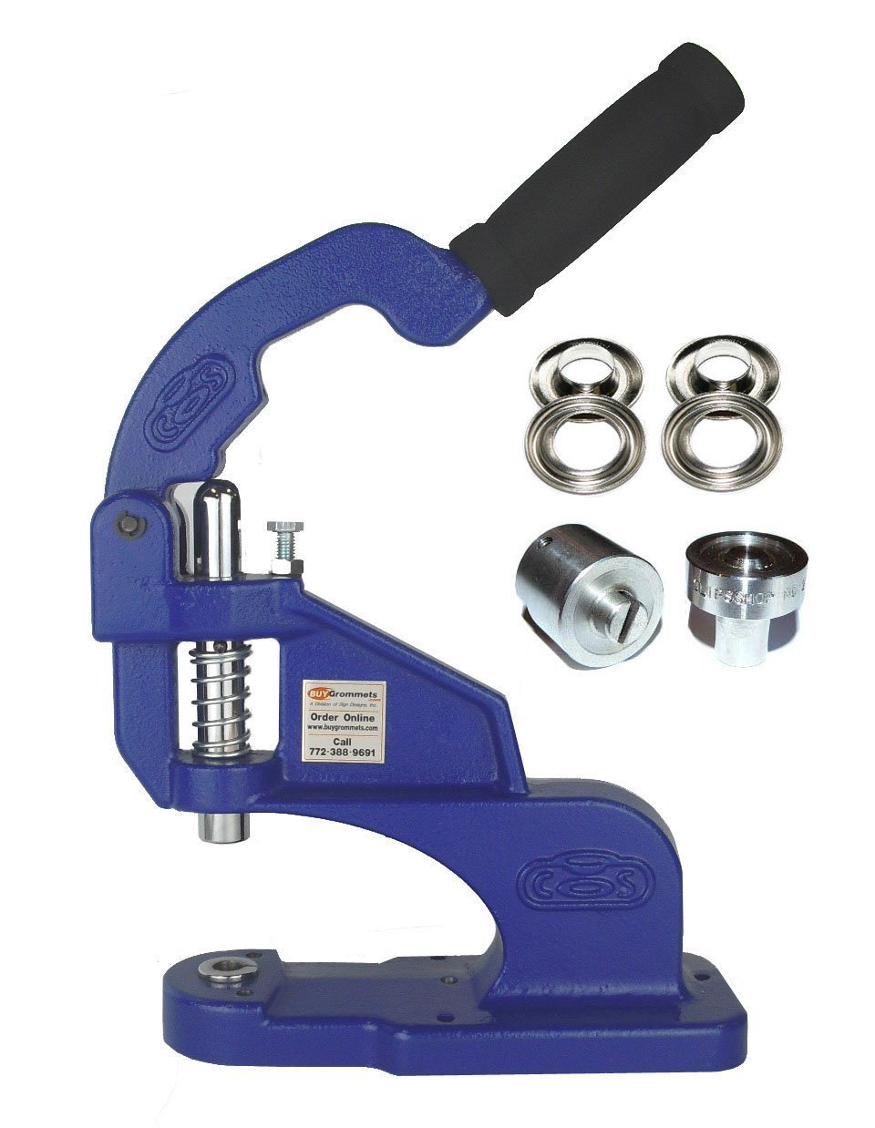 ClipsShop CSTEP-2 Grommet Machine Complete Kit Includes #2 3/8'' Nickel Grommets Qty 500 & #2 3/8'' Stainless Steel Die Set