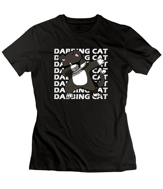 b6f96f920444 Amazon.com  xueshankeji Hip Hop Dabbing Cat Tshirts for Womens Black ...