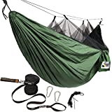 Adventure Gear Outfitter Hammock with Mosquito Net and Tree Straps, Green with Black Net