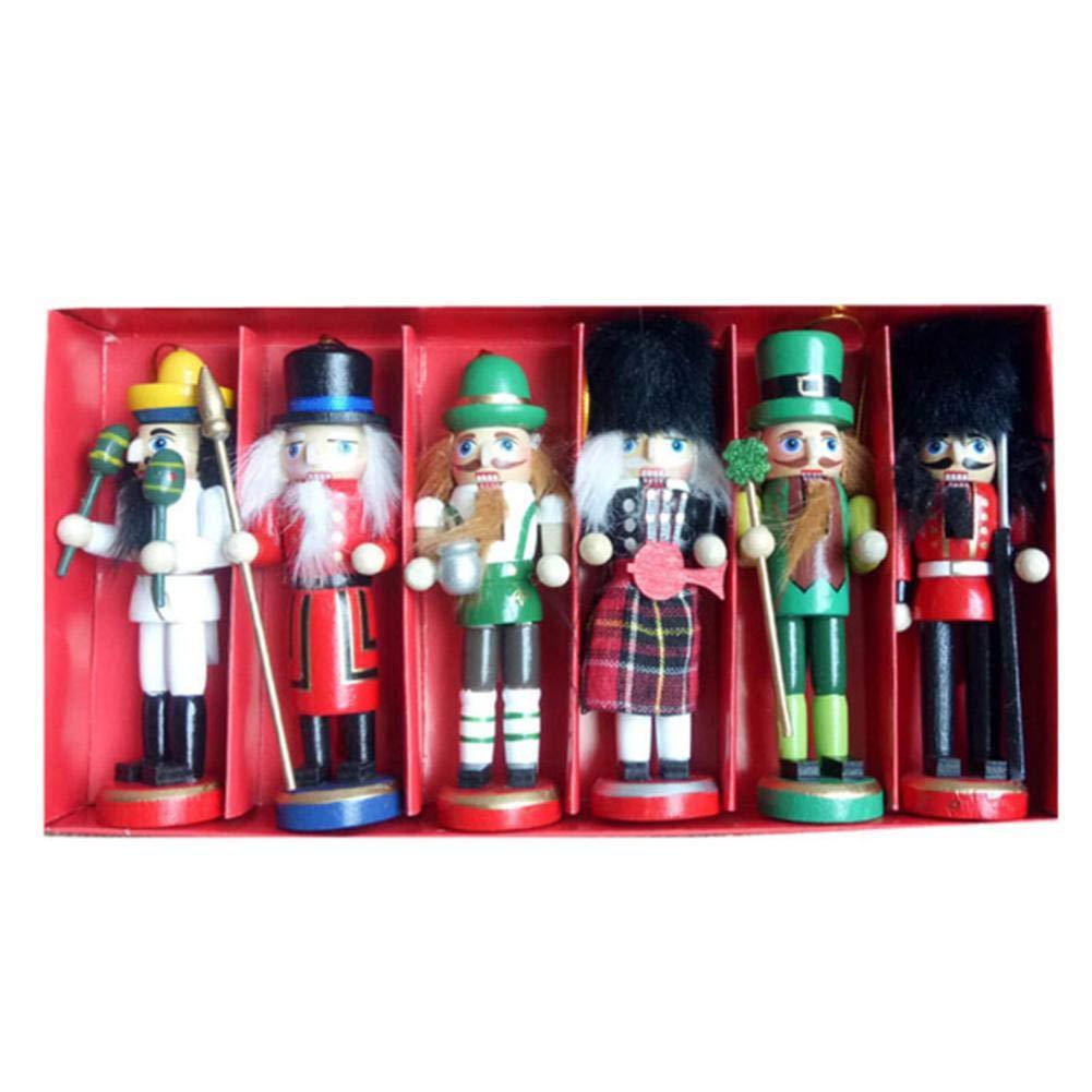 6 Pcs 12cm Soldat en Bois Casse-Noisette Soldat Marionnettes Figurines, Bois Figurines Soldat Pendable Décoration D'arbre de Noël Décoration de la Maison Noël Ljourney