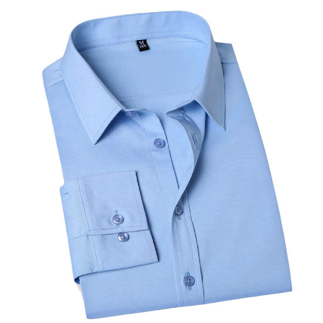 AngelSpace Mens Premium Pure Colour Business Tailored Tshirt Shirt