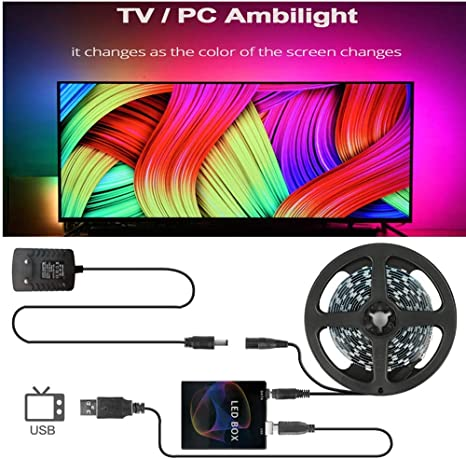 Imagen deQHY DIY Ambilight TV PC Dream Screen USB LED Strip HDTV Monitor de computadora Retroiluminación direccionable WS2812B LED Strip 1/2/3/4 / 5m Juego completo 1M kit 60 LED por metro