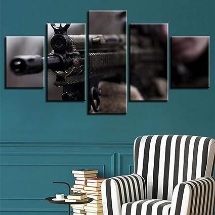 Jfw 5 Panneaux Photo Toile Pistolet Fusil De Sniper Affiche