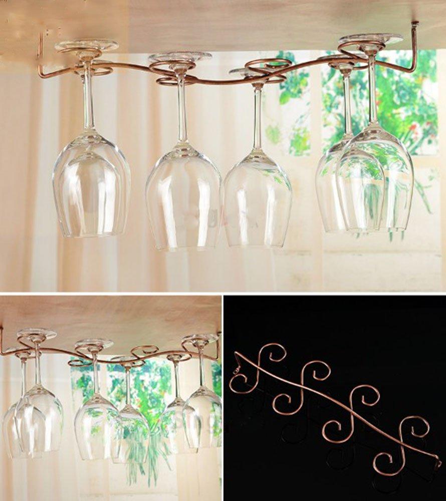 Awerise Vintage Style 8 glass under cabinet wine glass rack, hanging wine glass rack, stemware rack