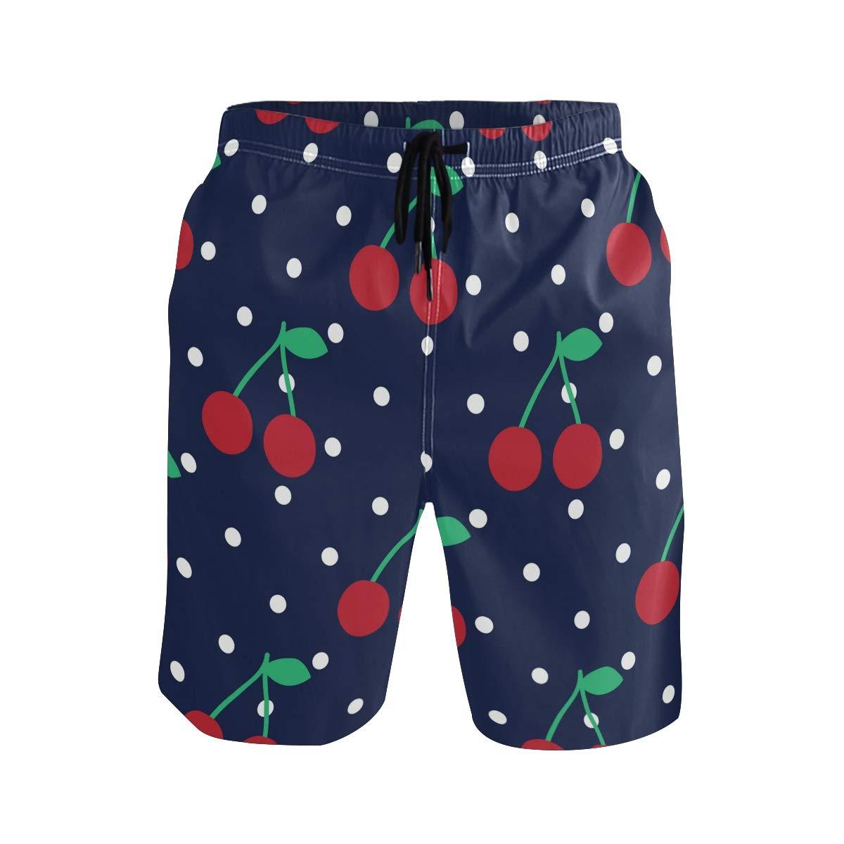 KUWT Mens Swim Trunks Polka Dot Fruit Cherry Quick Dry Beach Shorts Summer Surf Board Shorts