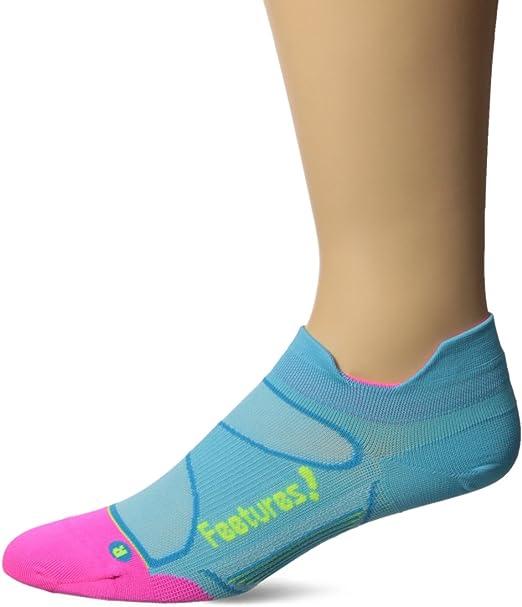Size Medium Feetures Elite Light Cushion Athletic Running Socks for Men and Women No Show Tab White