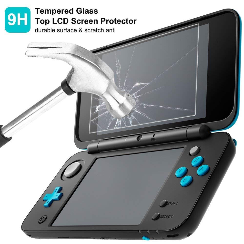 Funda rígido para Nintendo New 2DS XL con Protector de Pantalla, AFUNTA Case dura y transparente, con 4 Vidrio templado Películas de protección para ...
