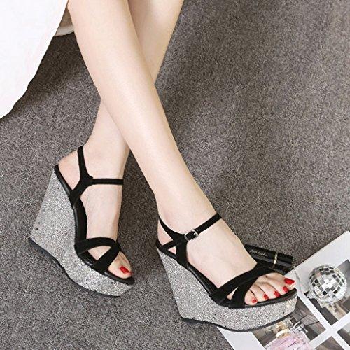sandali plateau con Tacchi toe 35 alti nera Colore con 12cm dimensioni 9cm donna open da Black impermeabili zeppa Black e sexy qz8wqX