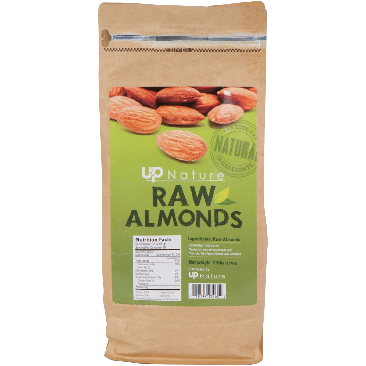 UpNature Raw Almonds – 2.5 Lbs. Fresh Quality Nuts – 100% All Natural – Packed with Nutrients – Delicious and Healthy Snacks – Savory Non-GMO Snacks – Kosher Food