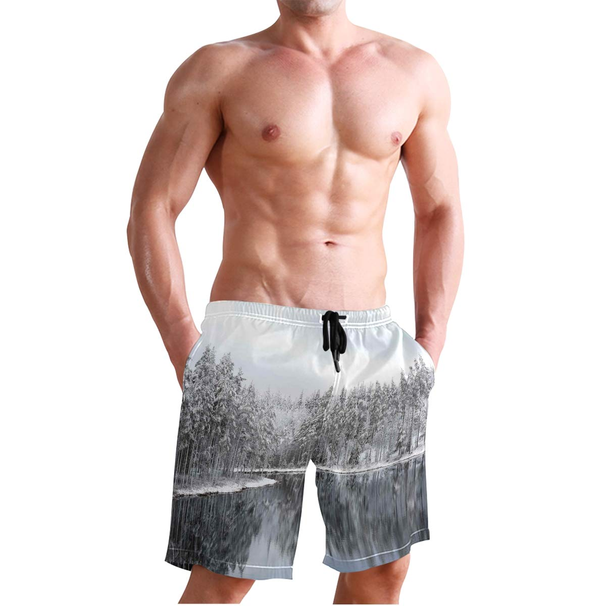 COVASA Mens Summer ShortsLake Surrounded by Snow Covered Trees On Cold Winter