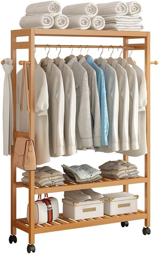 17x12x63inch JiaQi Porte-Manteau avec 2-Tier /Étag/ères de Rangement,Bambou Clothes Rack sur Roues de roulement,pour Votre entr/ée Chambre Cuisine Salle de Bains-H 42x30x160cm