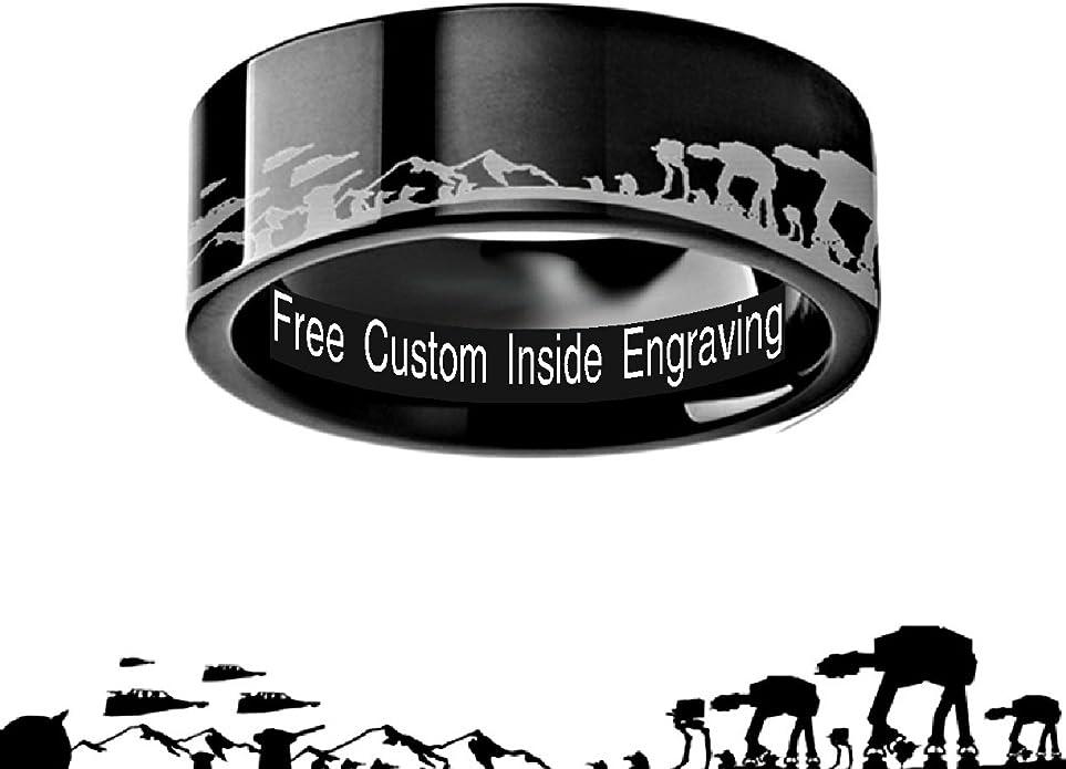 Comfort Fit Lightweight Titanium Thorsten Spinning Ring Rebel Alliance 8mm Star Wars Symbol Engraved Carbide Spinner Brushed Finish Beveled Edges Wedding Band Titanium Rings for Men