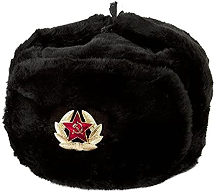 f2dc8c040d1 CUCUBA Original War Black Hat Cap Russian Ushanka For Winter Cold With  Russian Army Badge Size 61-62 XXL (EU) - Gift Idea  Amazon.co.uk  Clothing