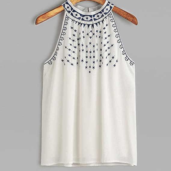 Creamdog❤ ❤️Women Summer Embroidered Tank Tops Sleeveless Casual Blouse T- Shirt at Amazon Womens Clothing store: