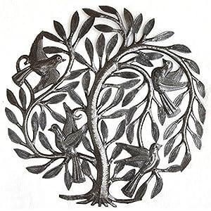 """Leaving The Nest Garden Tree of Life, Artistic Haitian Metal Art, Steel Drum, Outdoor, Indoor Decor 15"""" X 15"""" 96"""