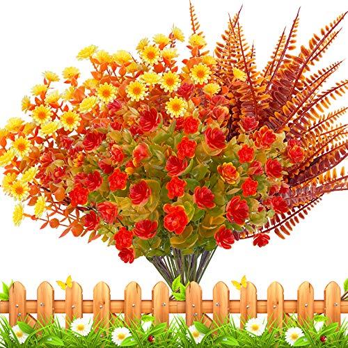 15 Bundles Thanksgiving Decorations Artificial Flowers Plants Set-Artificial Plastic Plants Fake Shrubs Greenery Fall…