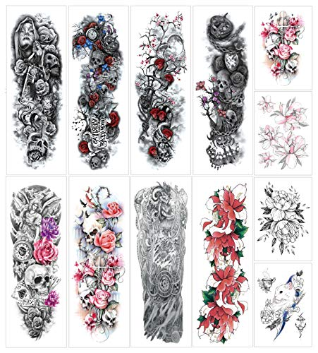 Temporary Tattoo Sticker Full Arm Large Size Fake Tattoo for Man Woman 12 Sheets