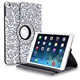 This 360 degree rotating case cover with stand is perfect fit for your Apple iPad Air, it provides full access to all its functions. This case made from polyurethane leather with classy design and the interior is lined with non-scratch material so yo...