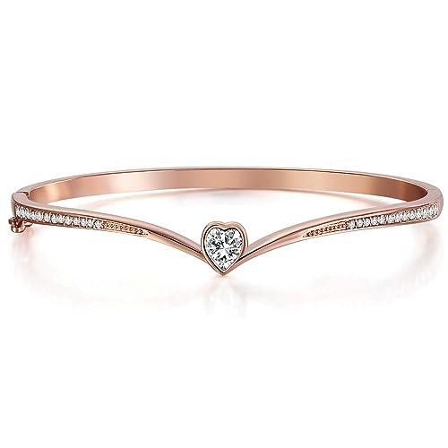 f1730f6d8d1a Angelady Oro rosa con cristales Swarovski Amantes del corazón Pulseras para  mujeres Brazaletes delicados clásicos Pulseras