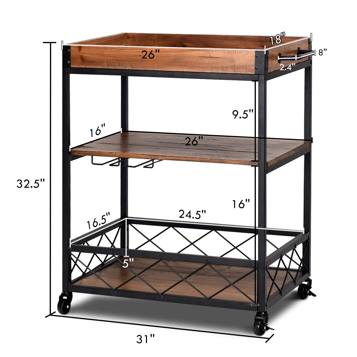 Giantex Kitchen Trolley Cart Island Rolling Serving Carts Utility Cart 3 Tier Storage Shelf with Glass Holde, Handle Racks, Lockable Caster Wheels Kitchen Carts Islands w/Removable Wood Box Container by Giantex (Image #8)