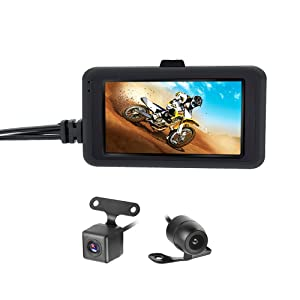 "OBEST Biker's Camera Motorcycle Dash Cam 1080p Dual Lens Video Recorder Motorcycle Dash Cam Sports Action Camera 3"" LCD Screen 170 Degree Angle Night Vision"