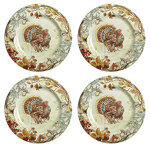Nantucket Home Fall Thanksgiving Turkey Heavyweight Melamine Dinner Plates, 11-Inch, Set of 4