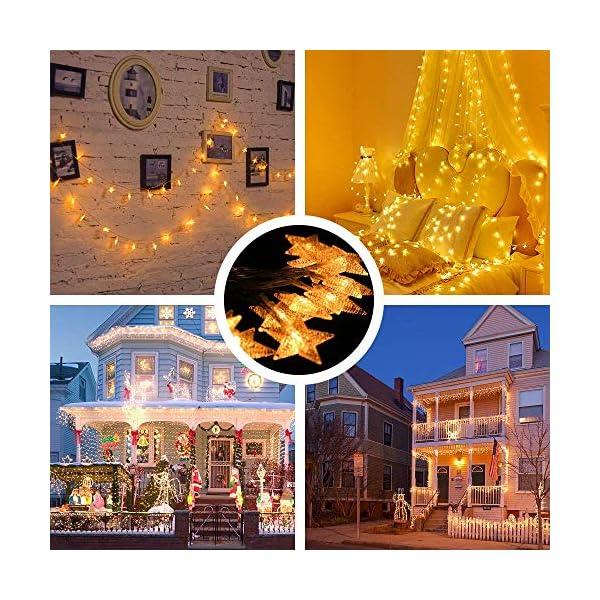 Luci Natalizie, DIKI Catene Luminose LED Star Luci di Natale Camera da letto 2 modalità 5M 40 LED Decorazioni natalizie Holiday Fairy Home, Indoor e Outdoor 5 spesavip
