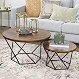 WE Furniture Geometric Wood Nesting Coffee Tables - Oak/Black
