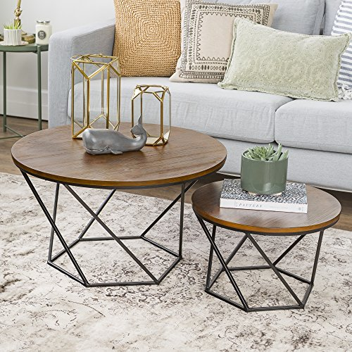 WE Furniture Geometric Wood Nesting Coffee Tables - Oak/Black by WE Furniture