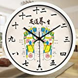 Znzbzt Simple Creative Mute Wall Clock Traditional Chinese Foot spa and Massage parlors in The Hospital Ward 医 feng Shui Decorative Wall Clock Mute Watches, 14 inch, Foot