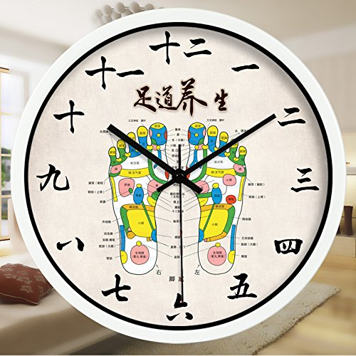 Znzbzt Simple Creative Mute Wall Clock Traditional Chinese Foot spa and Massage parlors in The Hospital Ward 医 feng Shui Decorative Wall Clock Mute Watches, 16 inch, Foot