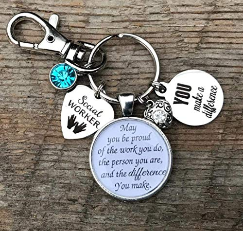 Social worker, social worker gift, social work, adoption, graduation, graduate, thank you gift, Inspirational, You make a difference, heart, key chain, gifts for her