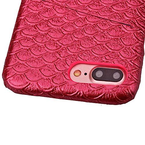 iPhone 7 Plus Hülle, Cozy Hut ® Design Genuine Leather Series Hülle | Apple iPhone 7 Plus | [Mermaid Fischschuppenmuster] Elastisch [Rote] Ultimative Schutz vor Stürzen und Stößen - [Skinning-Karte] Z