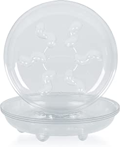 Idyllize 5 Pieces of 16 inch Clear Plastic Heavy Duty Plant Saucer Drip Trays for pots (16'')