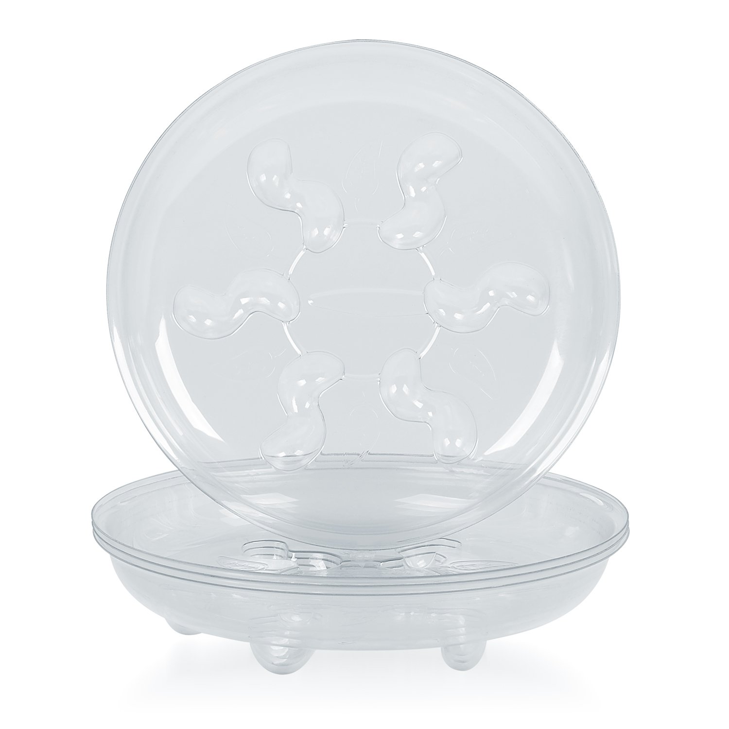 Idyllize 5 Pieces of 16 inch Clear Plastic Heavy Duty Plant Saucer Drip Trays for pots (16'') by Idyllize